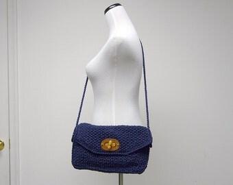 FROM Mr. ERNEST with LOVE . vintage Blue Woven Shoulder Bag . made in Japan