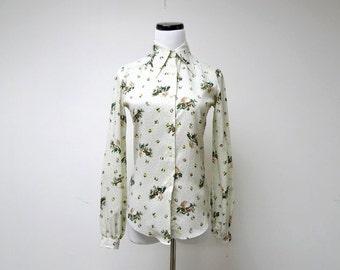 TUCCI . 1970 vintage button up floral shirt . size 5 / 6