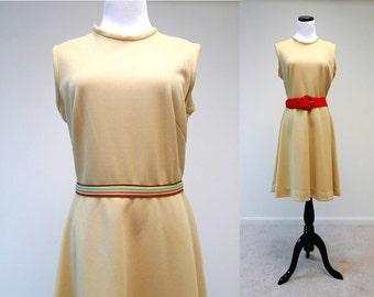 70s vintage sleeveless mocha brown poly dress . fits like a large