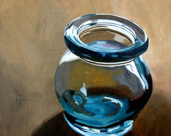 Fine Art Print From Original Oil Painting Wall Art Wall Decor Realistic Painting Turquoise Glass Bottle Glass Art Ready to Frame Art Print