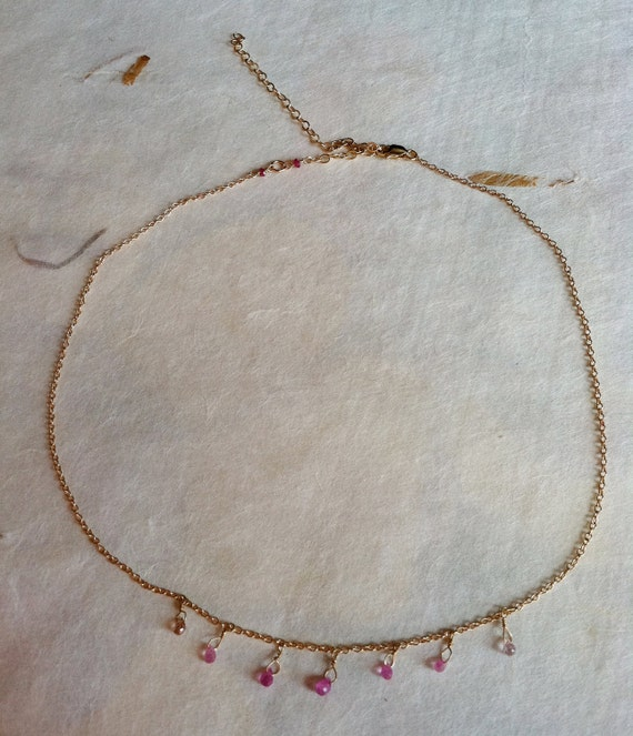 Delicate Pink Sapphire and Gold Necklace