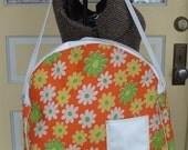 Vintage Orange Floral Flower Power Canvas and Vinyl Tote Bag