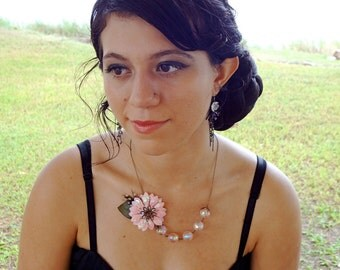 Softest Whisper - A Lovely Pink Flower Bead and Chain Necklace