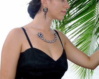 Mystique - Beautiful Black and Gray Rhinestone Flower Glass Pearl Sterling Silver Chain Necklace