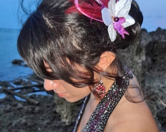 White and Purple Orchid Feather Fascinator Bridal Flower Wedding Hair Pin