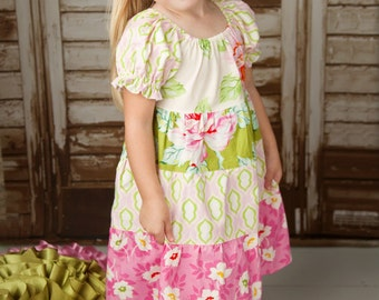Peasant Dress Pattern for Girls - Tiered Twirl Dress - Long Sleeved and Short
