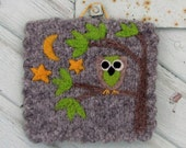 Wall hanging felted wool fiber art hand knit with little owl and stars