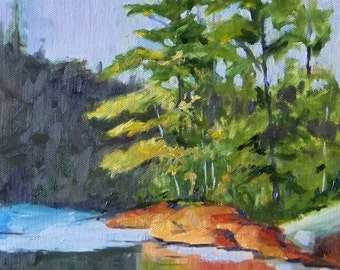Landscape Oil Painting on Canvas, Original Evergreen Trees, 9x12, Lake Reflection, Woodland Painting, Wall Decor, Green, Blue, Brown, Water