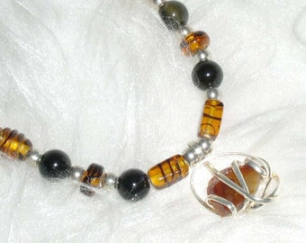 Brown Beaded Choker Necklace and Bracelet with Wire Wrapped Pendant