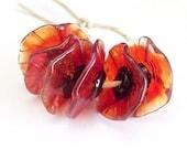 Handmade Lampwork Glass Beads - Poppy Fairy Flowers floral disk flower beads