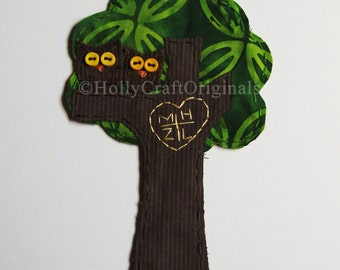 Wedding Tree,Personalized Tree with Initials.Love Owls Applique.Wedding Embroidery.Love Patch.Scrapbook Embellishment.Custom Made to Order