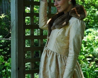 Silk Coat with Mink collar, matching hat, Vintage style, butter color, Neo Victorian, Romantic, Bridal, Steampunk
