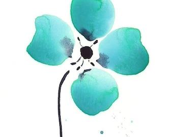 "Watercolor flower art print: ""Aqua Loves Indigo"""