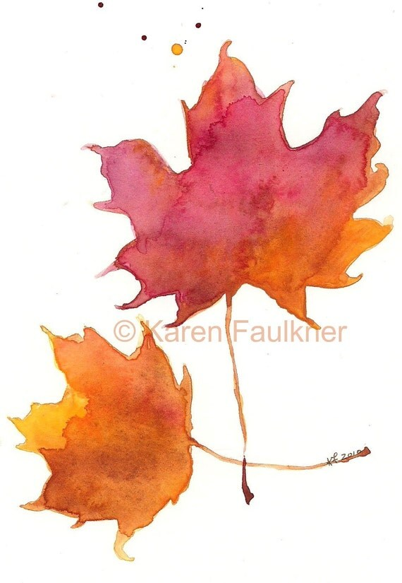 "Watercolor autumn Maple leaves print: ""Two Maples"""