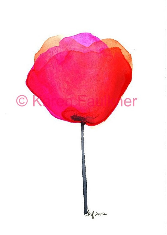 "Red and orangewatercolor flower art print: ""Mexican Paper Flower"""