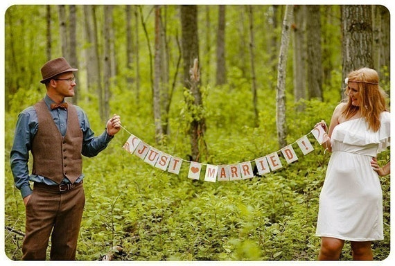 SAVE 15% Personalized Just Married Sunshine Paper Garland Party Banner Great for Weddings