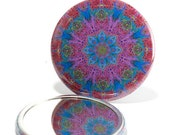 Pocket Mirror Mandala 2, Flower Mirror, Lacey Mirror, Mandala Mirror, Kaleidoscope, Blue & Purple Mirror, Bridesmaid Gift