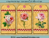 Instant Download - Printable Hang Tags - Handwritten Roses Two - PDF and/or JPG File
