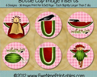Watermelon Crow Angel Bottle Cap Image Insert Printables - 1 inch Round Circles for Bottlecaps - Digital PDF and/or JPG File