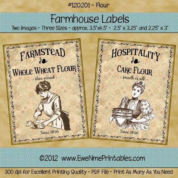 Kitchen Farmhouse Label Printables - Hospitality Cake Flour, Farmstead Whole Wheat Flour - Sepia Tone Images -  PDF or JPG File