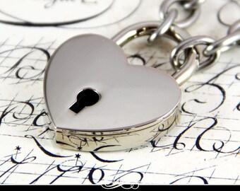Locking Bracelet. 50 Shades of Grey Heart Lock Bracelet.