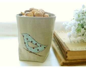 box blue bird linen Oatmeal diaper caddy weddings decor Fabric Organizer Bin Organizer Storage Basket Handmade Gift Wrap
