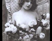 Fantasy Sew on Patch-es Handmade Victorian Risque Mature Nude Girls Breasts Sexy Flower Bouquet Vintage French Photo Giclée Art FREE S/h MbG
