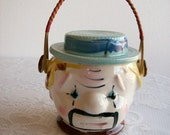 Clown Cookie Jar Vintage 'Made in Japan' Biscuit Jar Kitschy Kitchen Bamboo Handle