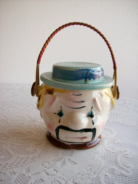 Clown Cookie Jar Vintage 'Made in Japan' Biscuit Jar Kitschy Kitchen Bamboo Handle