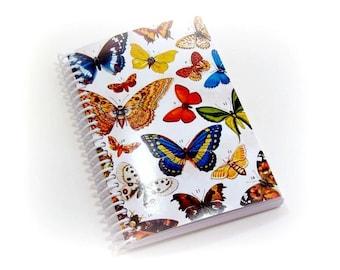 Spring Butterflies Spiral Bound Journal, Back To School, Sketchbook, Pocket Blank A6 Spiral Notebook, Natural History, Gifts Under 15