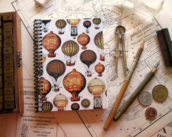 Hot Air Balloons 4x6 Inches Travel Journal, Pocket, Writing, Diary, Blank Sketchbook, Gifts Under 15, Back to School A6 Spiral Notebook