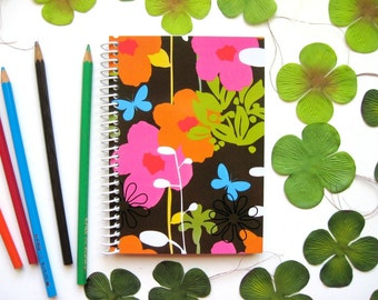 Spring Flowers Spiral Notebook, Spiral Bound Journal, A6, Back to School, Blank Sketchbook, Writing Draft Pocket Small Cute, Gifts Under 15