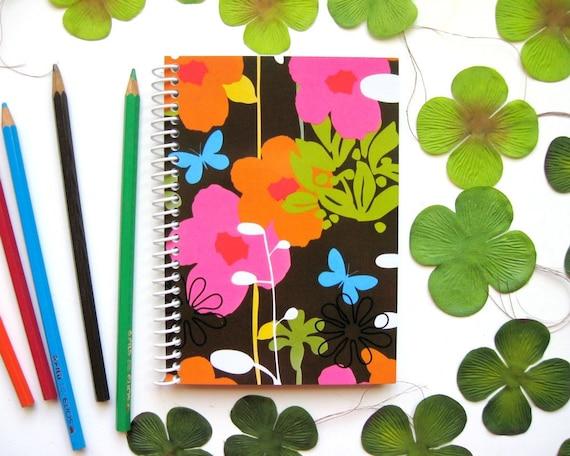 Floral Notebook, Spiral Bound Journal, A6 Notebook, Back to School, Spring Flowers, Blank Sketchbook, Writing Journal, Spiral Notebook