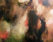 Painting, Large original oil, bold dramatic fine art, moody high contrast effects, earth tones, red, green,  30 x 24