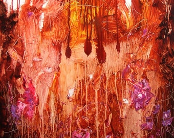"Painting, ""Bloody Valentine"", original gestural abstract. 24 by 18 inches, rust, violet"