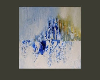 """Small abstract fine art print, 7 x 7 image area, winter theme, ice, snow, blue, white, """"Petrified Forest"""""""