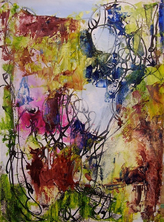 Abstract painting, autumnal, expressionist, gestural, Modernist, 16 x 12 inches