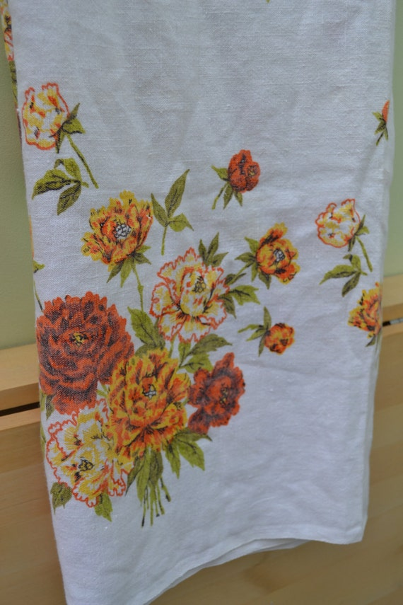 Vintage Linen Tablecloth  Mid Century Orange and  Yellow Flowers 1950s