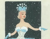 Original Watercolor Pastel Snow Queen Sunny Dancer Vintage Theater Costume Illustration