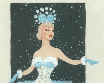 Original Watercolor Pastel Snow Queen Sunny Dancer Vintage Theater Costume Illustration