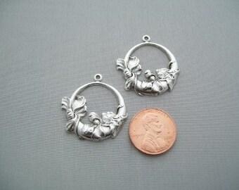 Pair Victorian Art Deco silver Vintage style Brass Filigree Jewelry Findings  hoop Earring Pendant