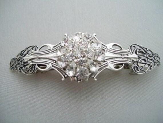 Vintage Victorian style Handcrafted Wedding hair Barrette hair clip rhinestone button center silver