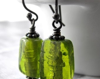 Lime Green Glass Earrings, Bright Citrus Green Glass Bead Earrings, Poison Apple Green Earrings, Popsicle, Green Apple Jolly Rancher Candy