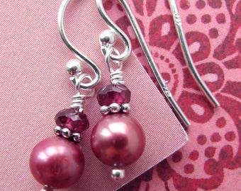 Pink Pearl Earrings, Tiny Dark Pink Pearls, Rhodolite Garnet & Sterling Silver, June Birthstone, Valentines Day, Bridesmaid Pearl Earrings