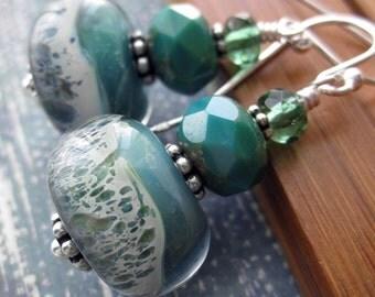 SALE! Seafoam Green Glass Earrings - Mint Green, Teal, Aqua Earrings - Ocean Waves on Sea Shore, Handmade Borosilicate Glass Bead Earrings