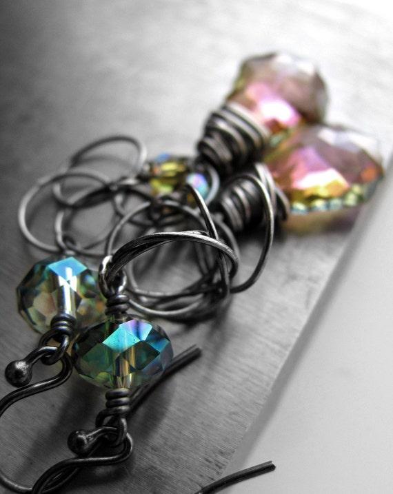 Iridescent Crystal Earrings, Wirewrapped Oxidized Sterling Silver, Swarovski Crystal with Aqua, Pink, Purple, Yellow, Seafoam - SPECTRUM