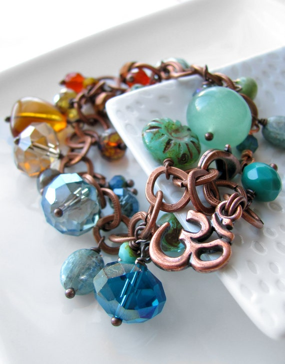 Om Shanti Yoga Bracelet, Aum OM Symbol, Yoga Jewelry, Gift for Yogini Yoga Lover, Colorful OM Charm Bracelet with Gemstones Crystals Copper