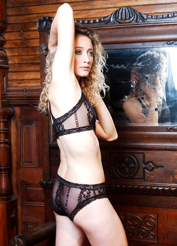 LAST ONE - Up To Size Small - Black See Through 'Summersweet' Bra-Womens Lingerie Made To Order