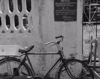 black white wall bicycle photograph signs Chinatown Asia SERVICES ONLY landscape
