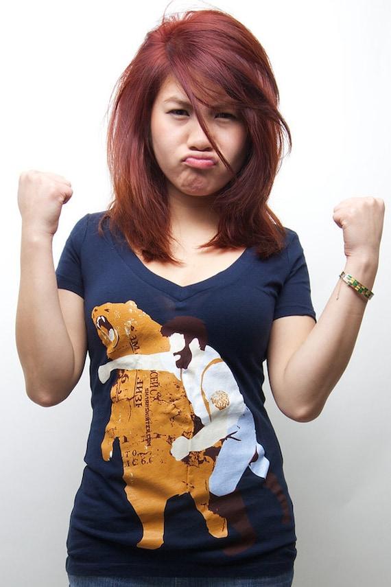 Women's Haymaker Tee, Funny Bear tshirt, animal, Bearded Guy, Girls t-shirt, Sizes available S M L XL 2XL
